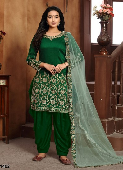 Green Art Silk Patiala Suit