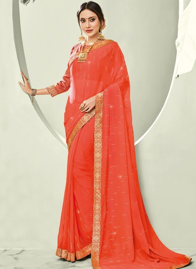 Orange Chiffon Casual Saree