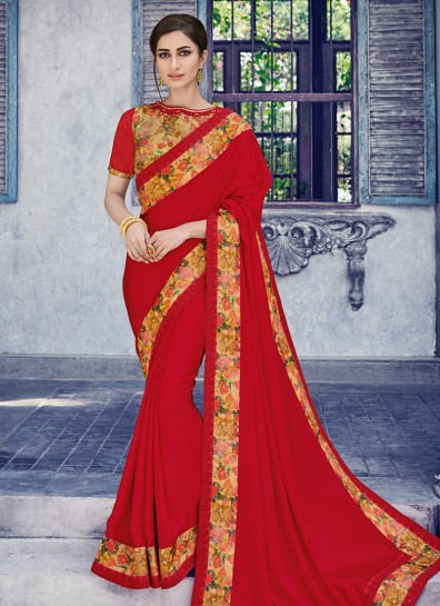 Red Satin Patch Border Saree