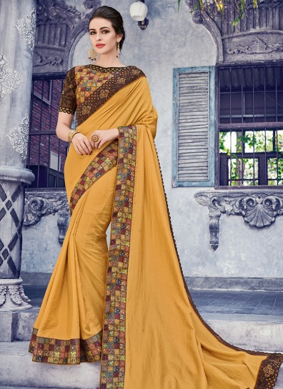 Mustard Silk Patch Border Saree