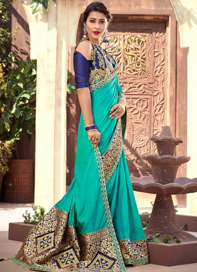 Green Silk Patch Border Saree