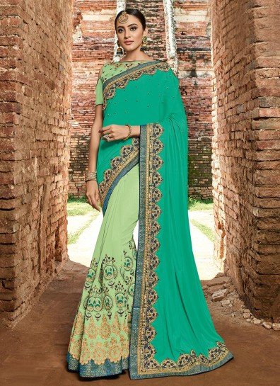 Sea Green Green Silk Half And Half Saree