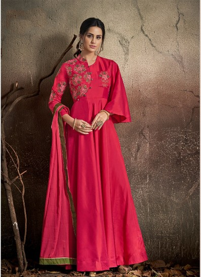 Hot Pink Silk Long Gown Suit