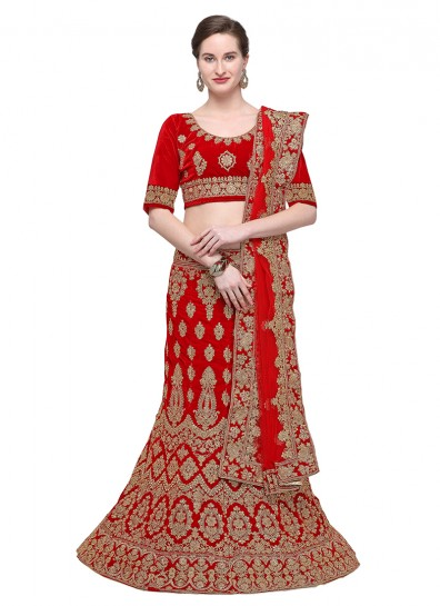 Red Velvet Fish Cut Lehenga