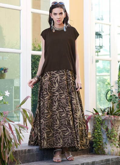 Brown Cotton Long Kurti