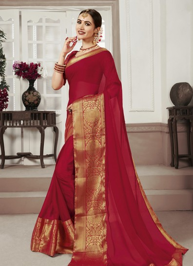 Red Chiffon Regional Saree