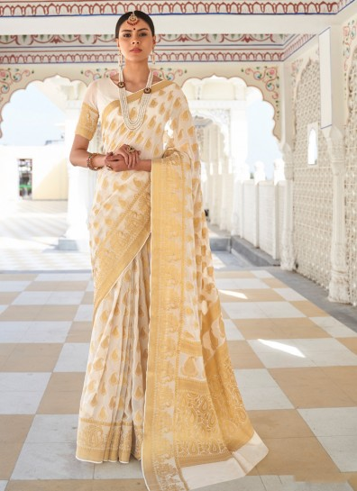 Cream Chiffon Classic Wear Saree