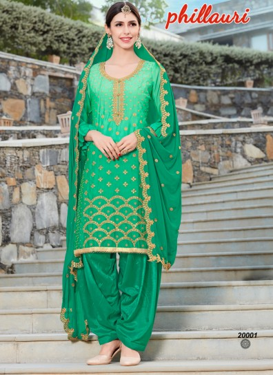 Green Silk Patiala Suit