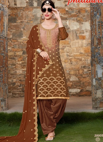 Brown Silk Patiala Suit