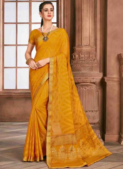 Yellow Brasso Printed Saree