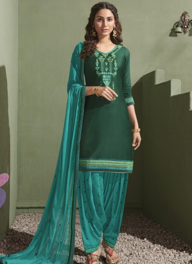 Green Satin Patiala Suit
