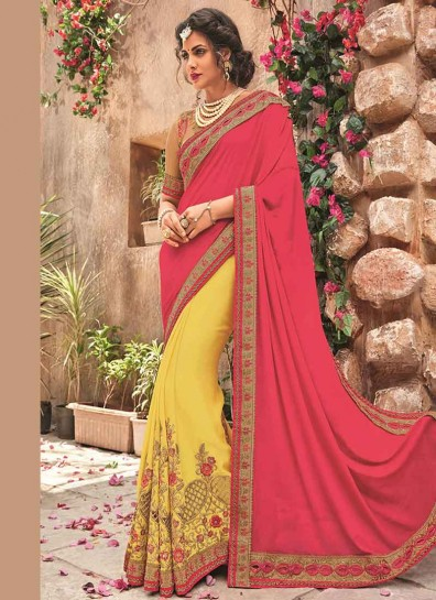 Pink Yellow Georgette Half And Half Saree