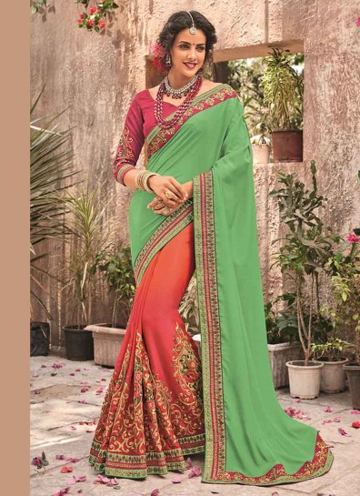 Green Fancy Georgette Half And Half Saree