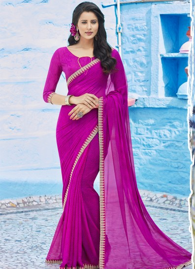 Purple Chiffon Casual Saree