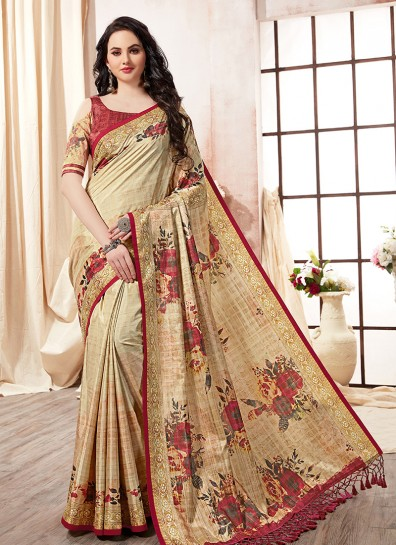 Beige Kanchipuram Silk Printed Saree