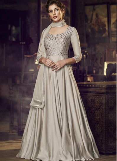 Cream Satin Long Gown Style