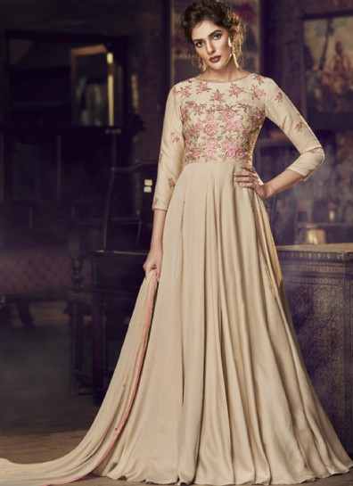 Beige Satin Long Gown Style