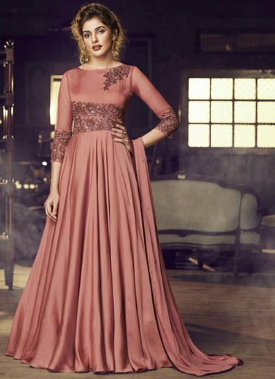 Rust Satin Long Gown Style