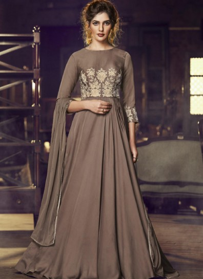 Brown Satin Long Gown Style