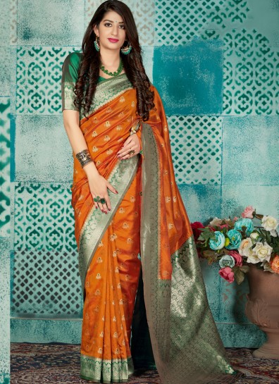 Orange Banarasi Classic Wear Saree