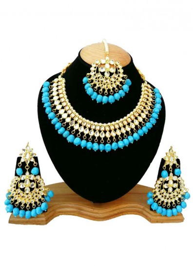 White Blue Alloy Metal Necklace Set