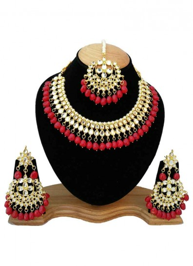 White Red Alloy Metal Necklace Set