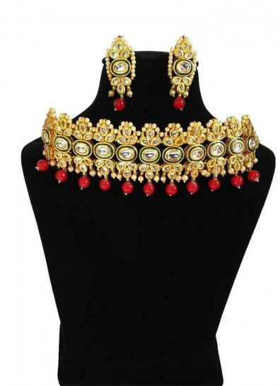 Gold Red Alloy Metal Necklace Set