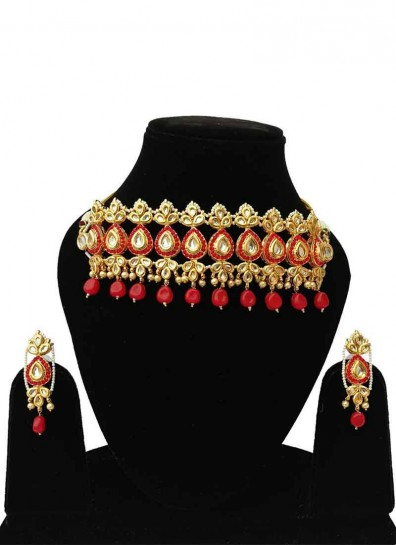 Gold Red Alloy Metal Kundan Necklace Set