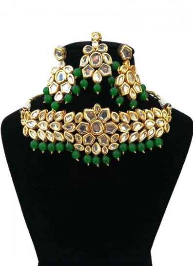 Green White Alloy Metal Necklace Set