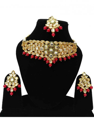 Red Gold Alloy Metal Kundan Necklace Set