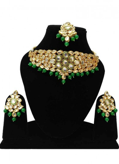 Green Gold Alloy Metal Kundan Necklace Set