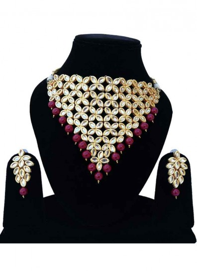 Gold Magenta Alloy Metal Necklace Set