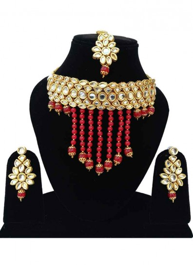 Red Alloy Metal Fashion Necklace Set