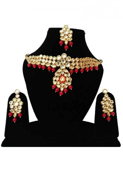 Red Alloy Metal Kundan Necklace Set