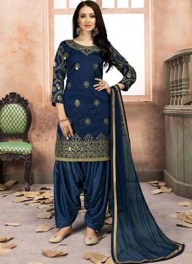 Blue Art Silk Casual Patiala Salwar Kameez