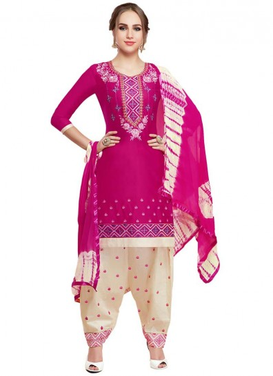 Magenta Cotton Casual Patiala Suit