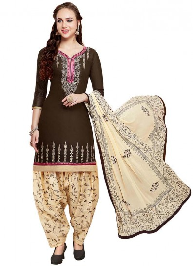 Brown Cotton Casual Patiala Suit