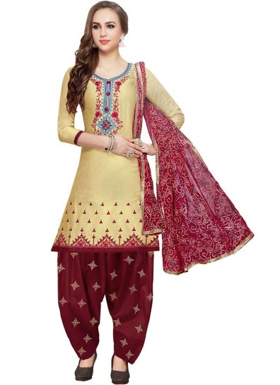 Yellow Cotton Casual Patiala Suit