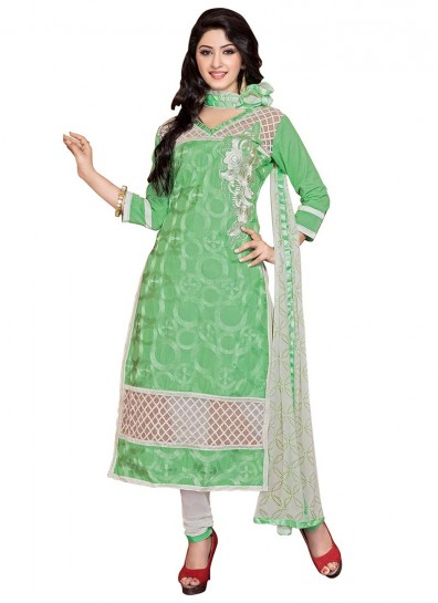 Green Casual Cambric Cotton Straight Cut Suit