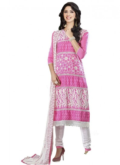 Pink Cambric Cotton Straight Cut Suit