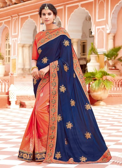Blue Peach Silk Half And Half Saree