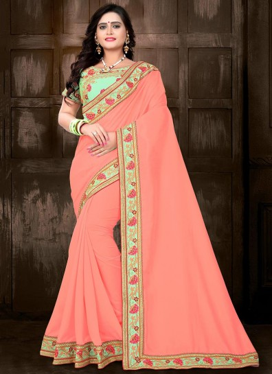 Peach Silk Heavy Blouse Saree