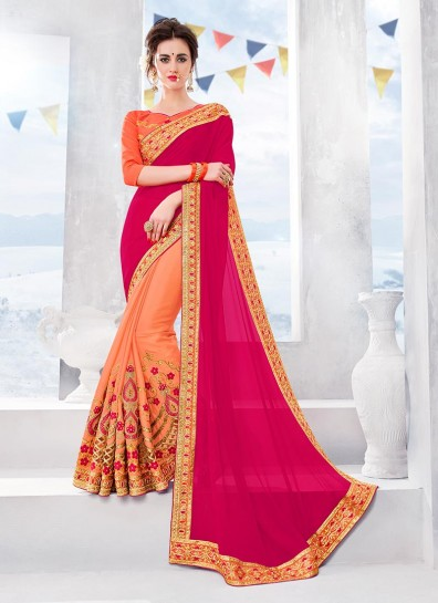 Magenta Peach Chiffon Half And Half Saree