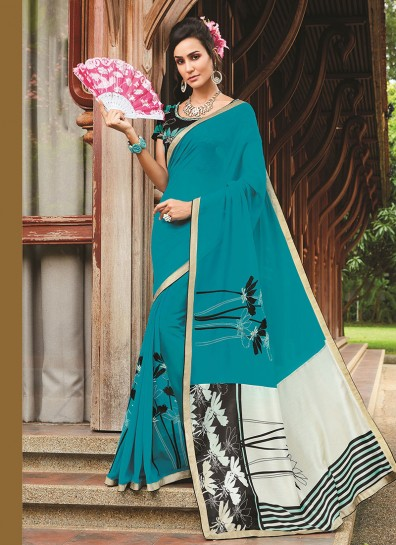Teal Georgette Casual Saree