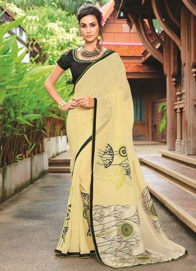 Yellow Georgette Casual Saree