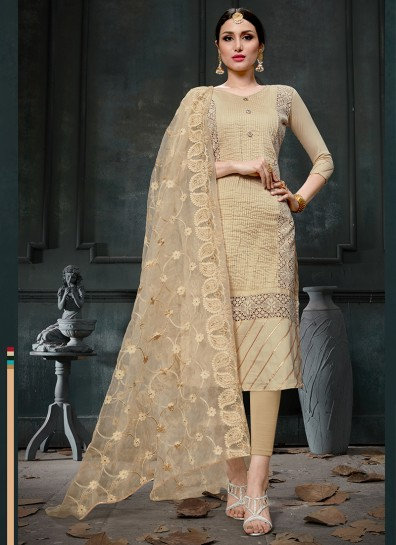 Beige Cotton Straight Cut Suit