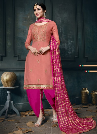 Peach Cotton Straight Cut Suit