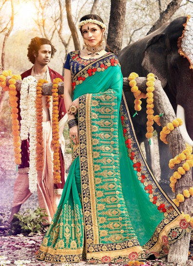 Sea Green Georgette HeavyWork Border Saree