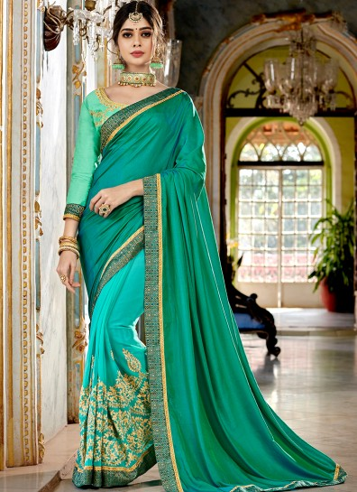 Green Turquoise Georgette Half And Half saree