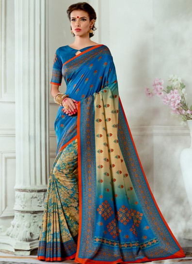 Blue Tussar Silk Printed Saree